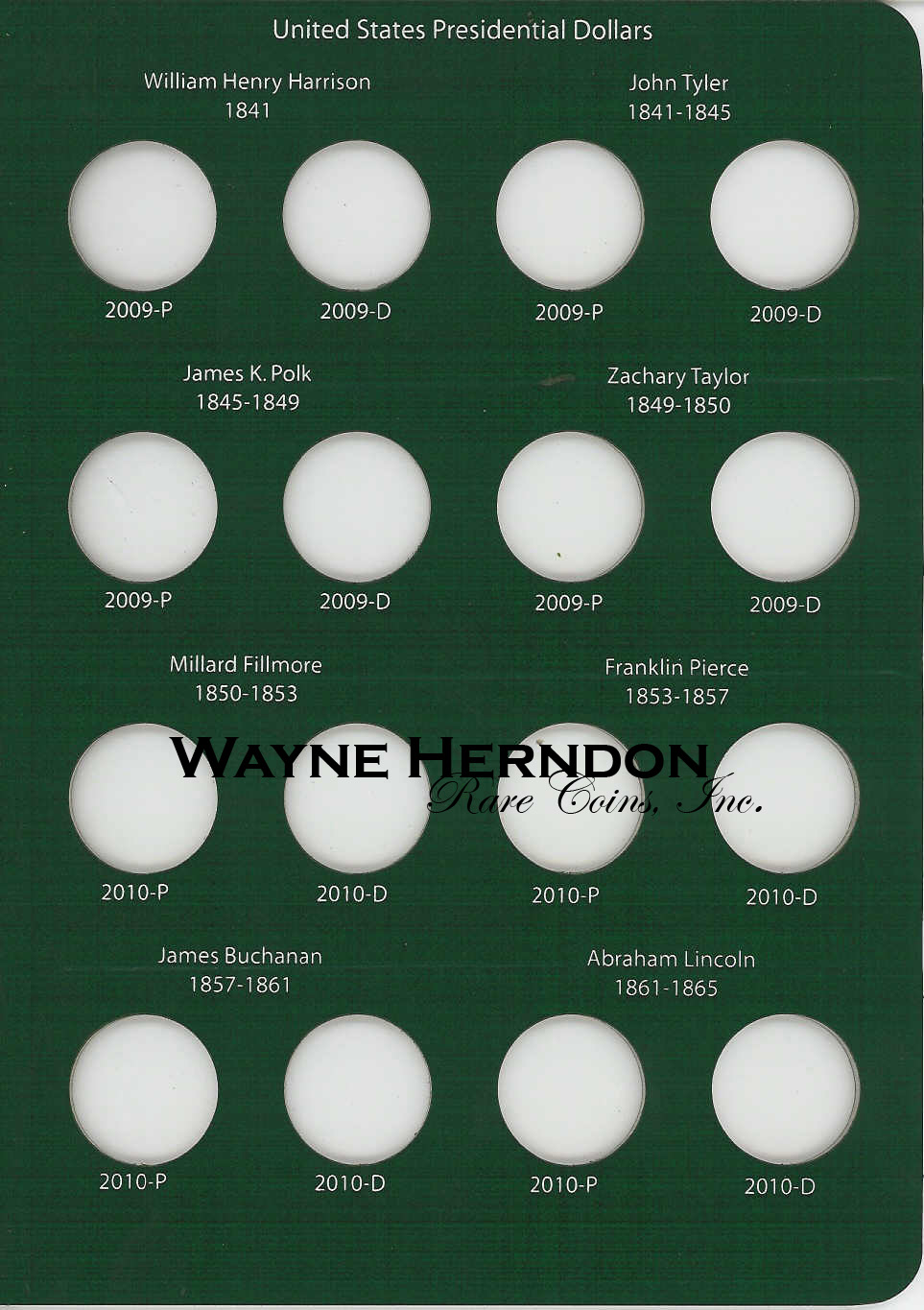 A201 Intercept Shield Album Presidential Dollars P and D Mints Page 2